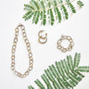 "Two-Tone Gold Chain 3 Piece Gift Set of Earrings, 20"" Necklace and Bracelet"