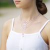"Blessed Statement Necklace with CZ Stone in Rhodium with 18"" Adjustable Pull Chain"