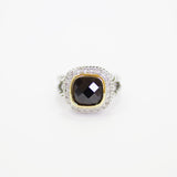 Designer Inspired Split Shaft Cushion Cut Onyx CZ