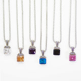 Designer Inspired Square Cut Deep Aqua CZ Pendant Necklace
