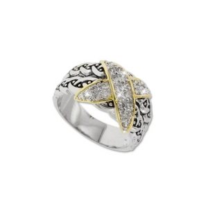 Two tone Hardy X ring in rhodium and 18kt gold
