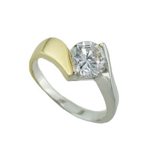Diamond Two-tone Ring 2 Carat Weight bypass ring