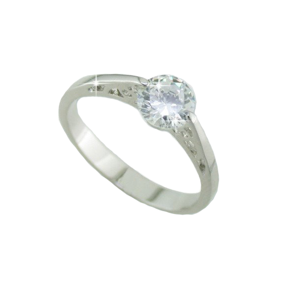 Solitaire Ring In Rhodium White Gold