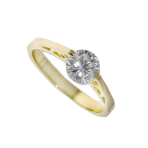 Solitaire Ring In Rhodium Gold Plate