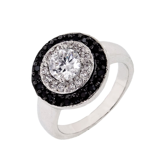Designer Inspired Onyx And White Halo Ring