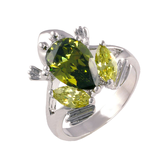 Frog Marquise Cut Peridot CZ Ring