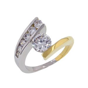 Classic two tone modern bypass ring