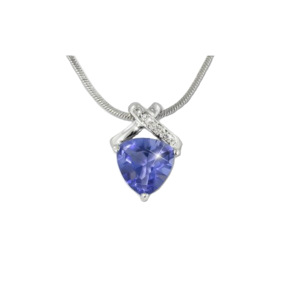 Tanzanite Heart Necklace W/pave