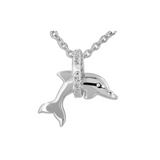 Jumping Dolphin Through Pave Hoop Pendant Necklace