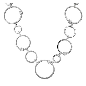 Designer Inspired Open Circle Necklace with CZ Diamond Accents