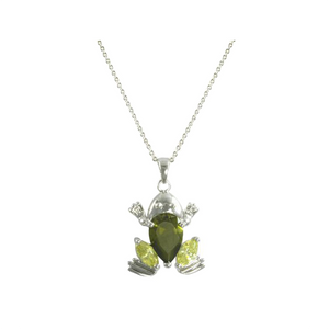 Frog Marquise Cut Peridot CZ Pendant Necklace