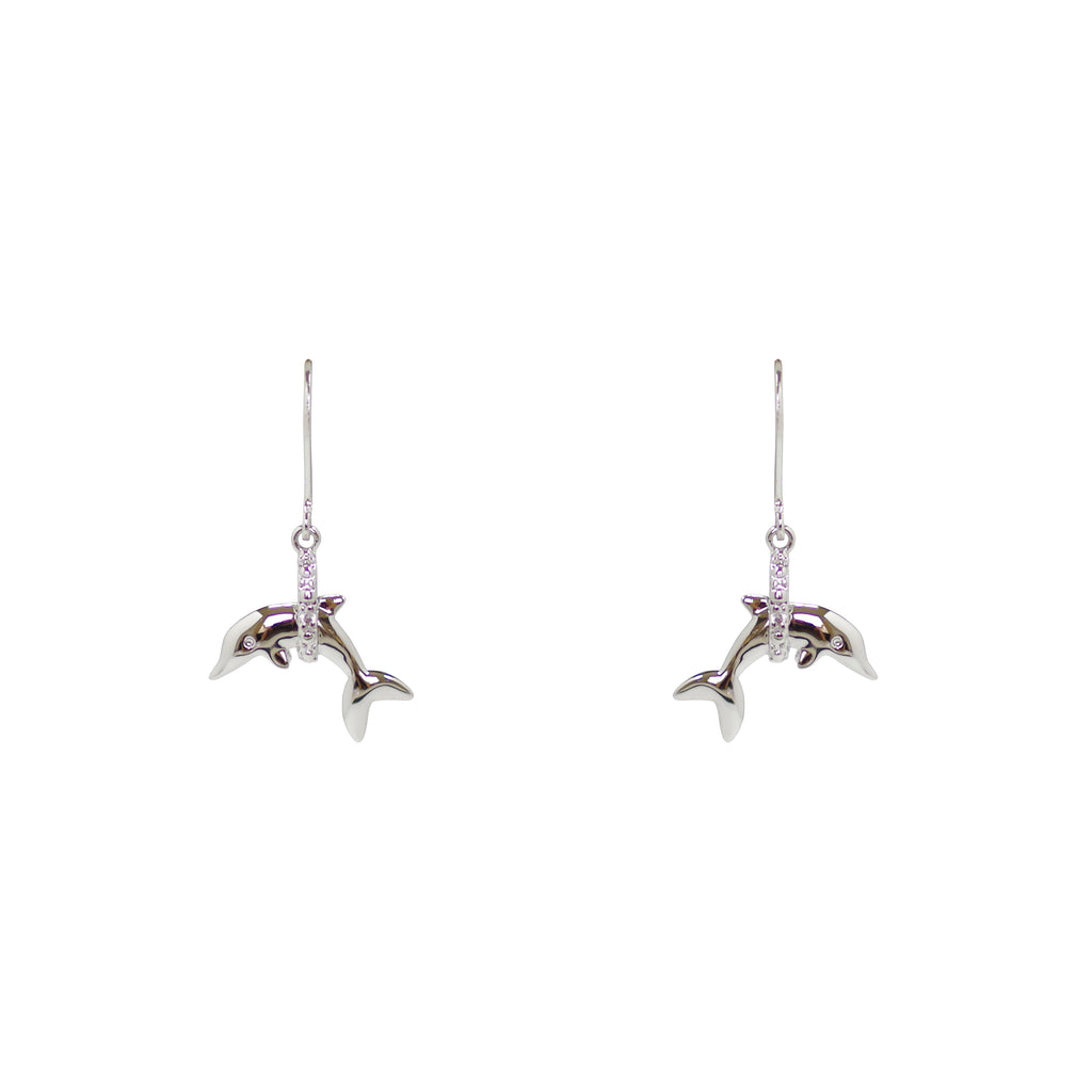 Jumping Dolphin Through Pave Hoop Earrings