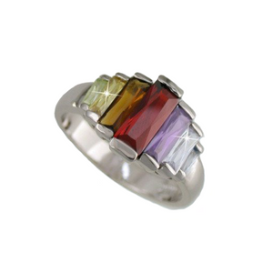 Graduated Multi Color Baguettes Rhodium Plated