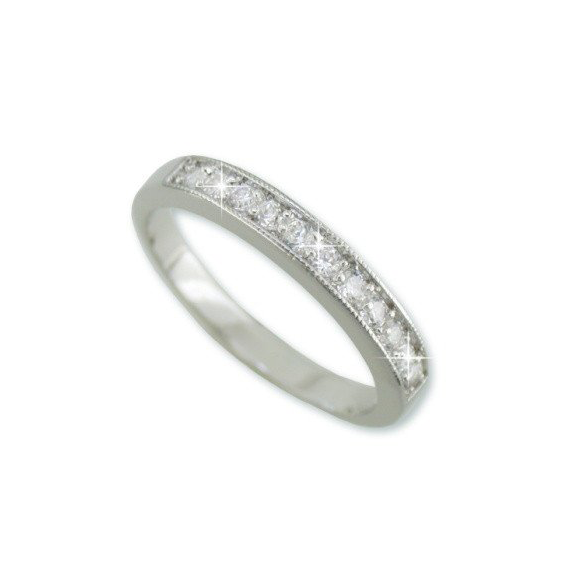 Channel Set 11 Stone Half Eternity Band In Silver