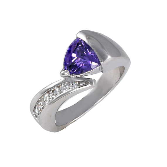 Synthetic Tanzanite Trillium In Modern Setting