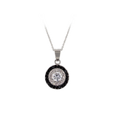 Designer Inspired Onyx And Clear Halo Circle Pendant Necklace