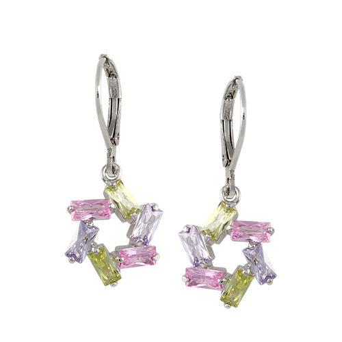 Multi-Color Pastel Pink, Lavender and Green Star Pendant Earrings in Rhodium