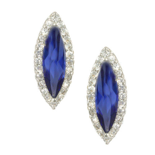 Marquise Tanzanite CZ Halo Earrings in Rhodium