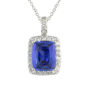 Tanzanite Cushion Pendant Necklace with Pave Accents