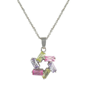 Multi-Color Pastel Pink, Lavender and Green Star (of David) Pendant Necklace in Rhodium