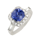 Ascher Cut Deep Tanzanite With Sidelong Beautiful Hand Carved Baguettes And Brilliant Rounds