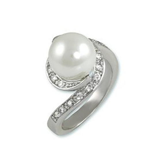 Pearl In Swirl Setting with CZ Accents