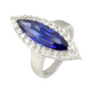 Marquise Tanzanite CZ Halo Ring in Rhodium