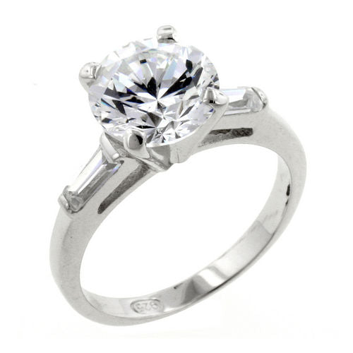 2 CT Solitaire CZ Ring in Sterling Silver with Sidelong Baguettes