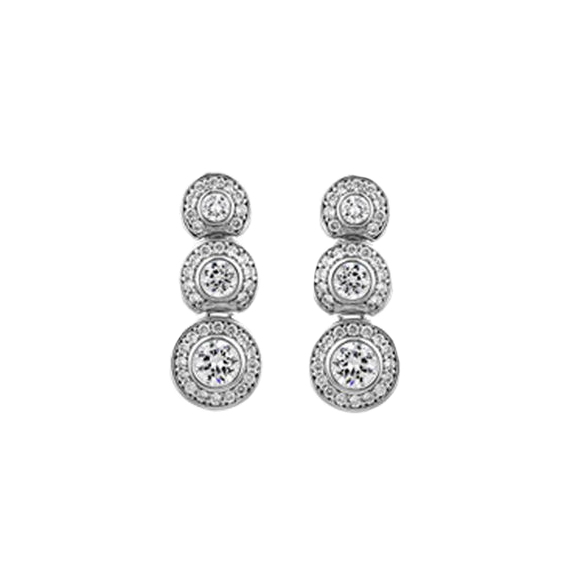 Designer Inspired Graduated Rounds with Pave Border Drop Earrings