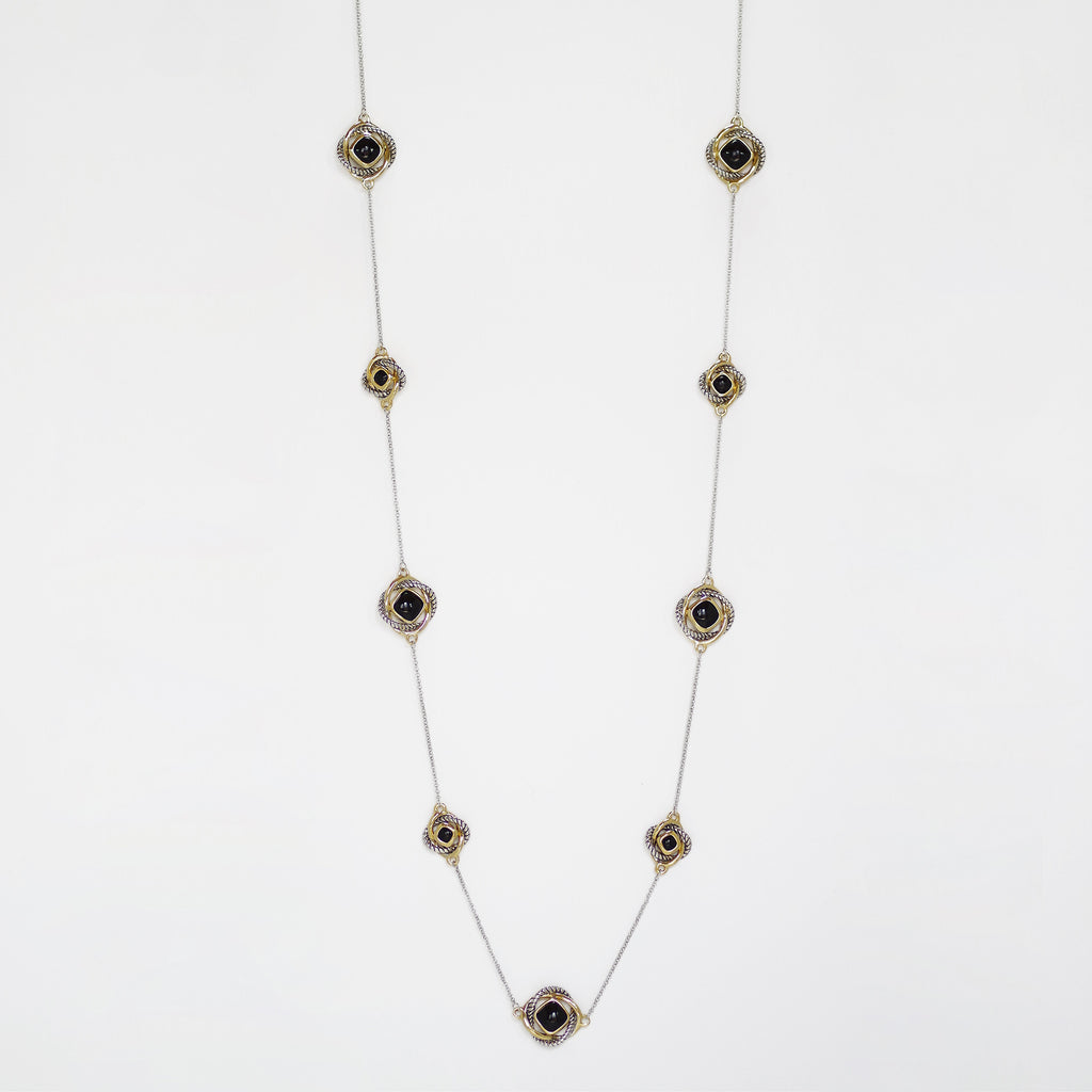"Love Knot 36"" Station Necklace in Onyx Black"