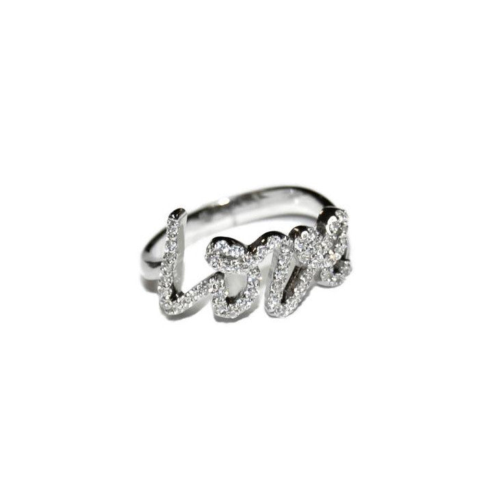 Pave Love Ring in Sterling Silver