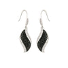 Black And White Pave Leaf Fish Hook Earrings