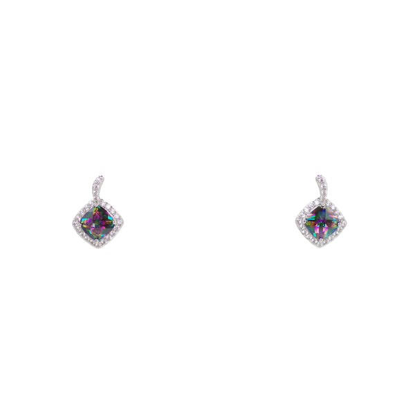 Mystic Topaz Cushion Cut Rainbow CZ Earrings With Micro Pave Border