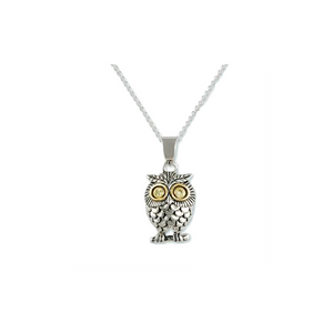 Owl Two Tone Necklace With Peridot CZ Eyes