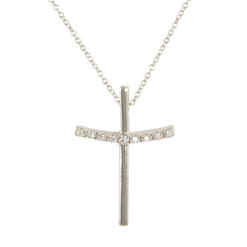 Simple Cross Necklace W/pave