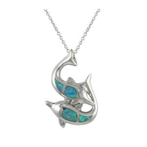 Dolphin Necklace W/ Australian Blue Opal