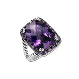 Designer Inspired Antique Style Amethyst Cushion Cut Ring