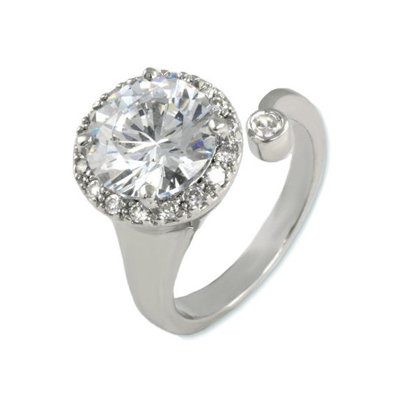 Wrap Around Open Halo CZ Ring