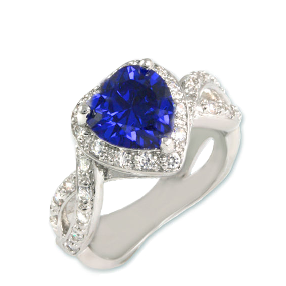 Tanzanite Heart Ring with CZ Halo