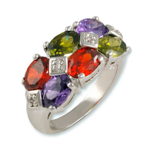 Multicolor oval ring