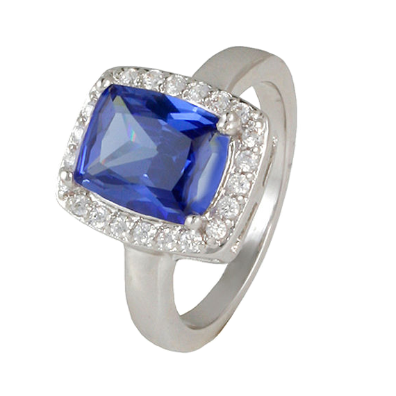 Tanzanite Cushion Ring with Pave Accents