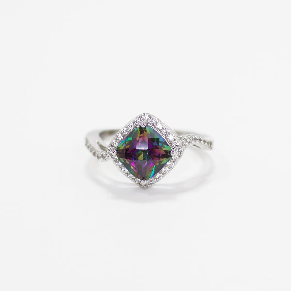Mystic Topaz Cushion Cut Rainbow CZ Ring With Micro Pave Border