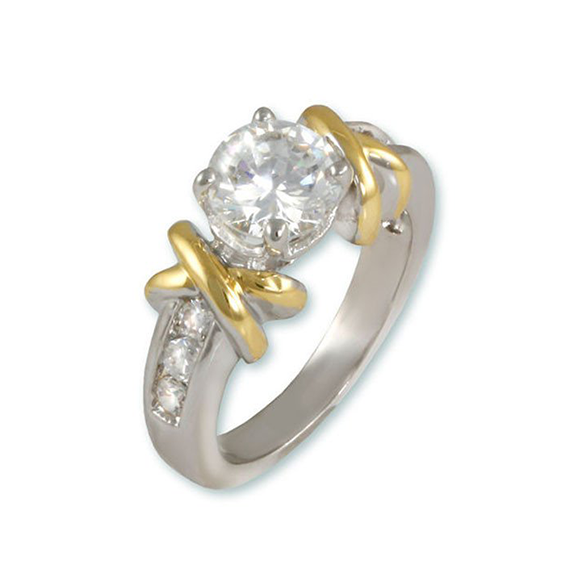 Hugsnkisses 2 tone x ring