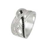 Criss cross ring with jet stones