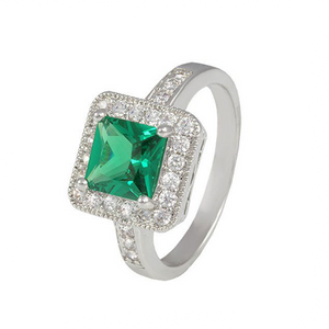 Emerald Square Cut Stone Ring with Pave Accent Border