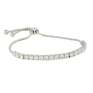 Clear CZ Tennis Bracelet with Adjustable Pull Closure