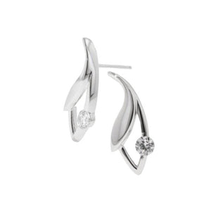 Leaf Drop Earrings with 1/2 CT 5AAA Solitaire CZ
