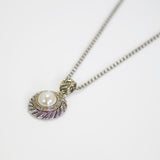 "Designer Inspired Mother of Pearl Halo Pendant Necklace with 18"" Chain"