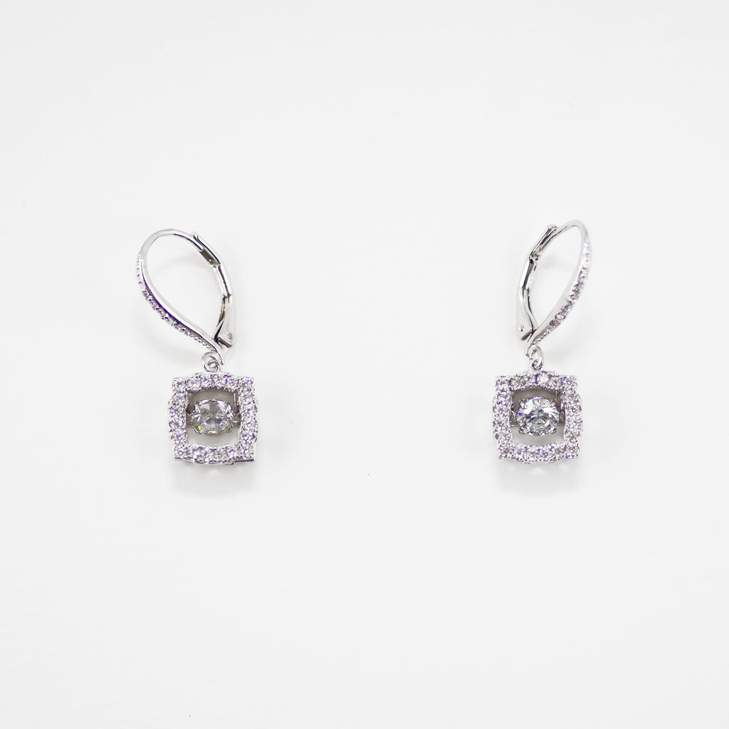 Square Pave Shimmery Moving CZ Diamond Earrings