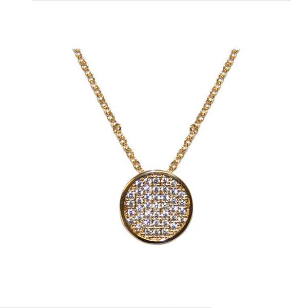 Pave Round Gold Necklace